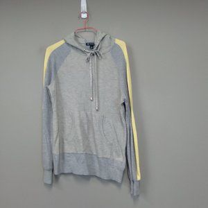 INC Gray Yellow Stripe Pullover Wool Blend Hoodie